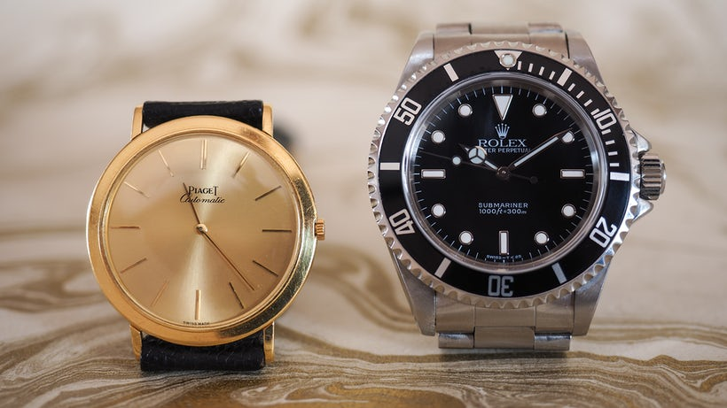 Both Watch Collection A Modern Rolex Submariner 14060 Perfect Replica Watches And A Classic Piaget 12103